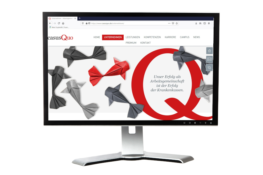 ein Bildschirm, darauf die Startseite der casusQuo-Website